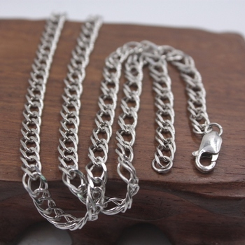 """Solid S925 Sterling Silver Necklace Women Men Luck Hollow Tank Curb Chain Link 20"""" 5mmW 14.35g"""