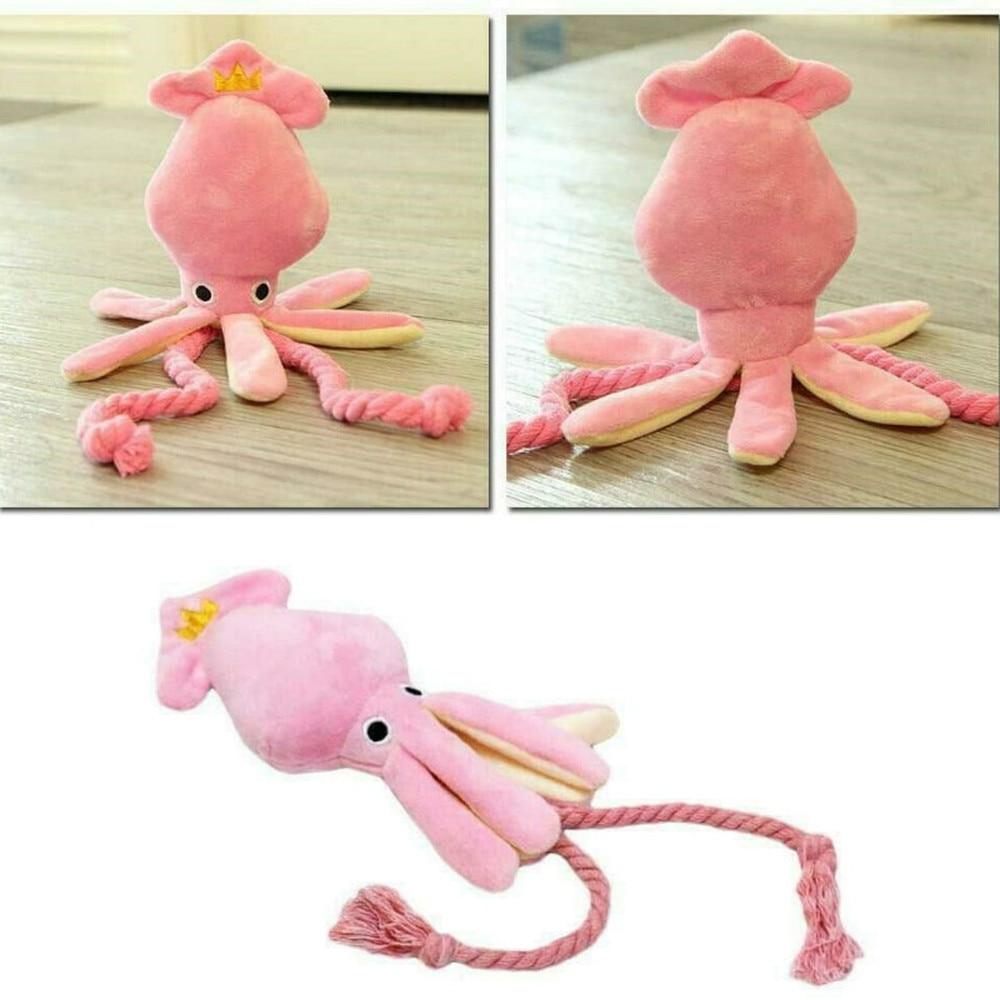 Cute Squid Pet Cat Dog Toy Octopus Cute BB Plush Pet Puppy Rope Toys Pink Chew Squeak Toys