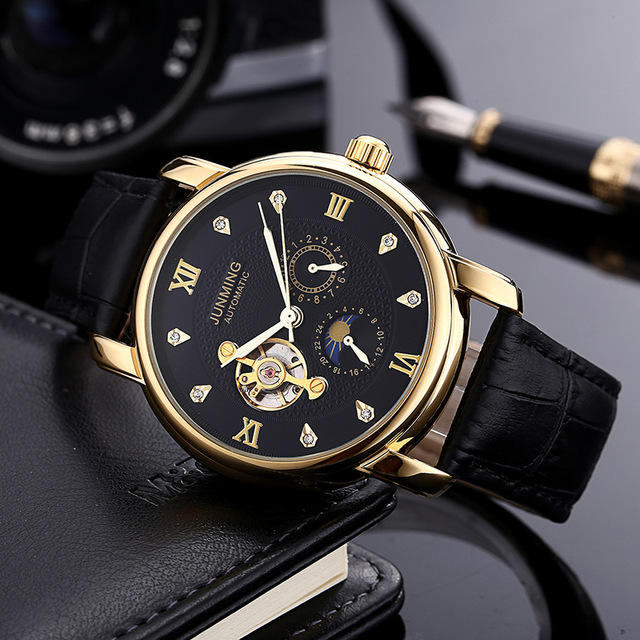 Top Grade Genuine Product Three Waterproof MEN'S Leather Belt Analog Watch Gold Diamond Set Tourbillon Fully Automatic Mechanica