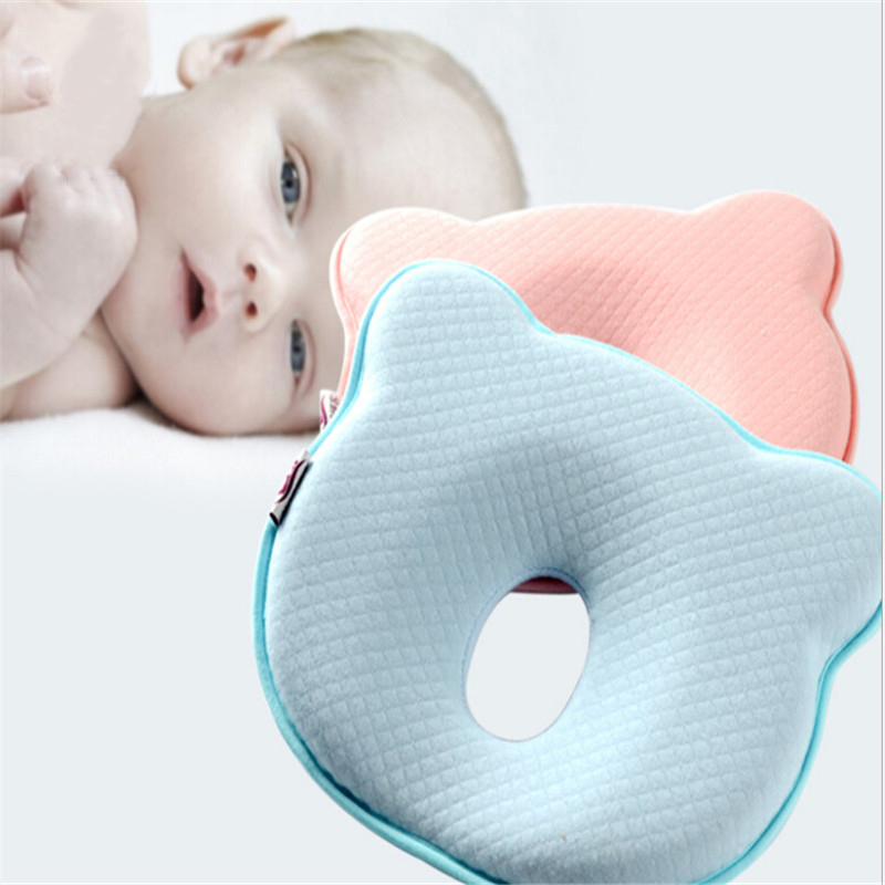 Yellow Baby Pillow Soft Infant Head Orthopedic Shaping Pillow Memory Foam Sleeping Cushion To Prevent Plagiocephaly Flat Head Syndrome
