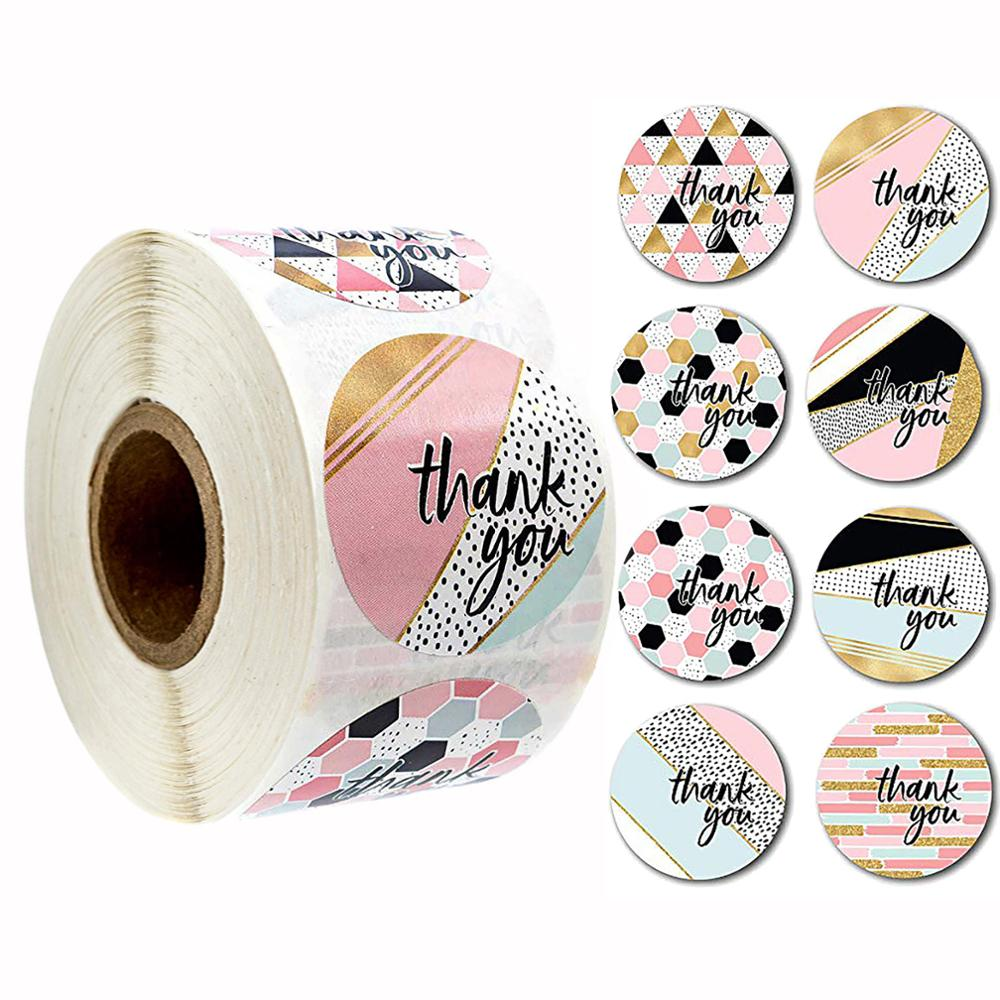 500 PCS Round Pink Geometric Pattern Thank You Stickers Seal Labels Christmas Stickers  School Teacher Reward Stationery Sticker