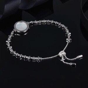 Image 2 - SLJELY Высокое качество Настоящее серебро 925 пробы звезда Искусство Круглый корпус браслет со значком микро фианит женские роскошные брендовые ювелирные изделия