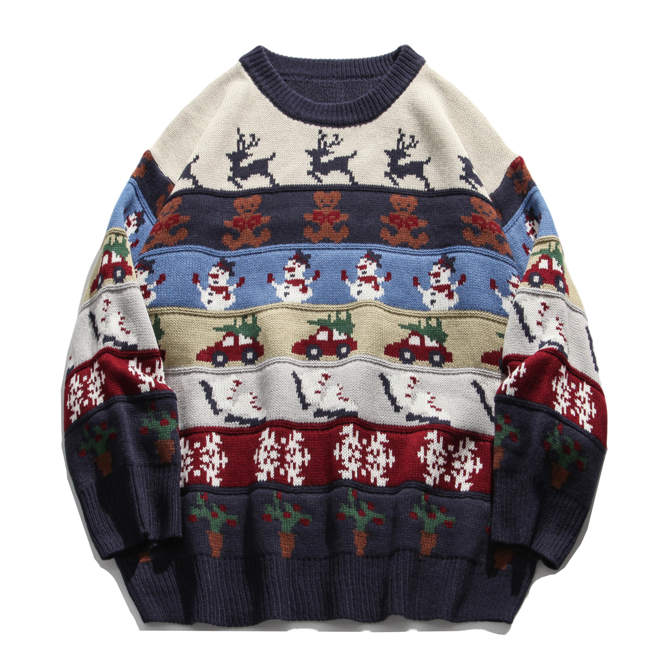 Hip Hop Streetwear Mens Knitted Sweater Harajuku Ugly Christmas Elk Snowman Sweater Oversize Cotton Loose Pullover Men Clothing