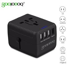 GOOJODOQ Universal Travel Adapter with 3 USB+1Type c Wall Charger International Power Adapter All-in-one for EU/US/AU/UK Plug ultra fire all in one batteries charger for 3 2 3 7v lithium battery eu plug