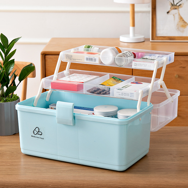 3 Layer Medical Kit Portable Medicine Box First Aid Kit Medicine Makeup Stationery Box Desk Storage Box