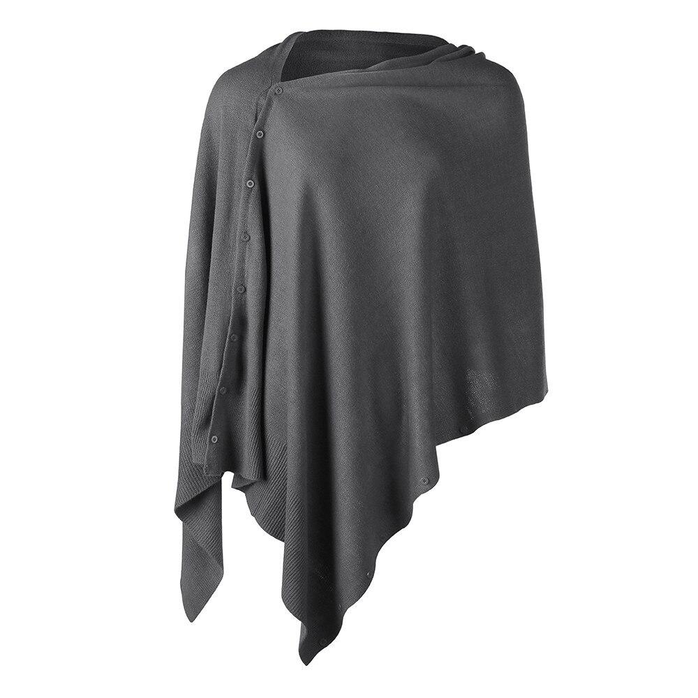 Camisola de malha versátil dos ponchos do lenço feminino com botões peso leve primavera verão outono xale poncho cape cardigan capes