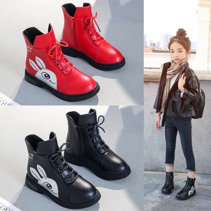 Image 3 - Winter Girls Boots 2019 New Spring British Fashion Girls Shoes Kids Cute Cartoon Leather Warm Plush Boots Litter Big Child BootBoots   -