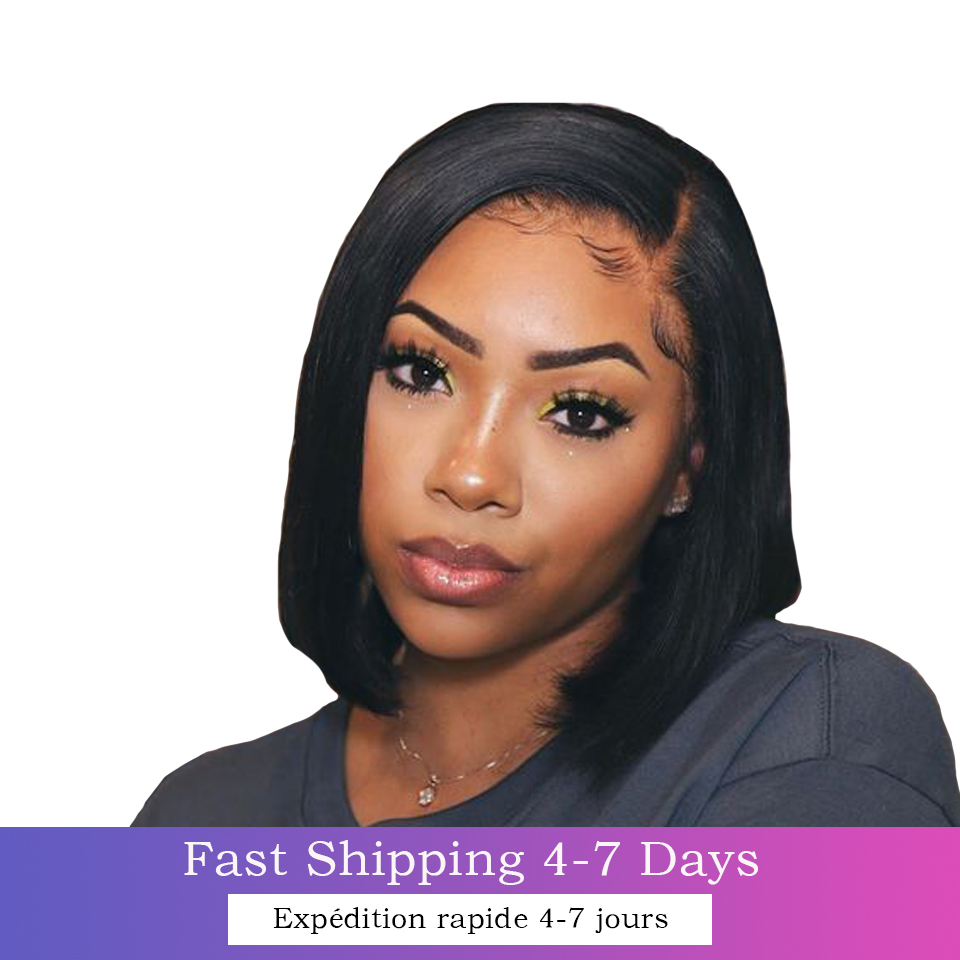 13x4 Lace Closure Short Bob  Wigs for Black Women Glueless Pre-Plucked  Straigh Bob Wig Blunt Cut  Hair 2