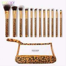 цена на Docolor 12Pcs Makeup Brushes Cosmetic Powder Foundation Eyeshadow Make Up Brushes Set Hair Synthetic Makeup Brush with Bag
