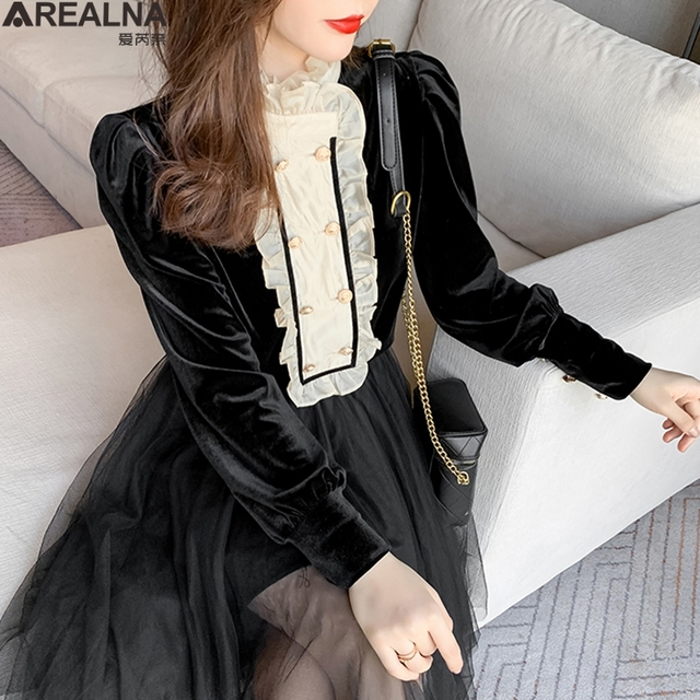 New Spring Vintage Blouse Women Long Sleeve Double Breasted Shirt Velvet Tops Stand Collar Ruffles Patchwork Sweet Blouses 1
