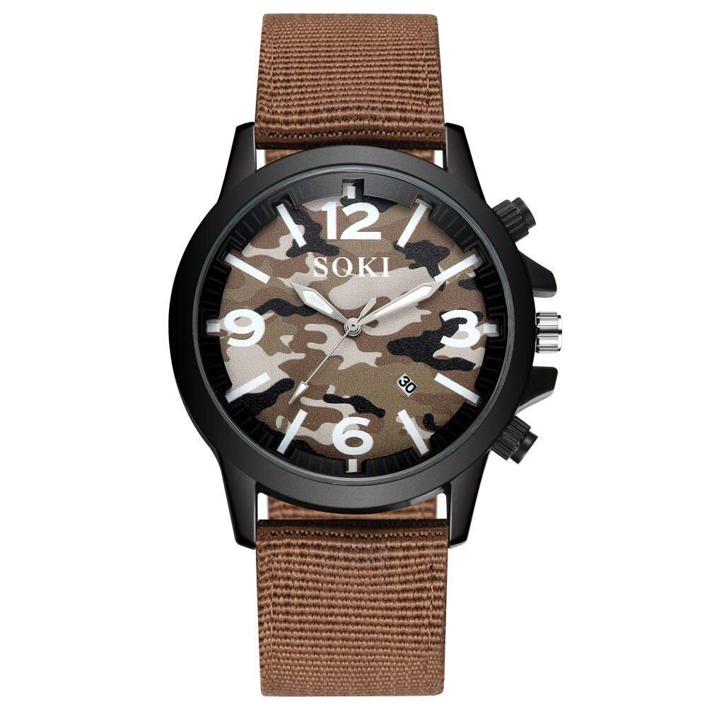 Камуфляжные часы с календарем мужские кварцевые уличные спортивные
