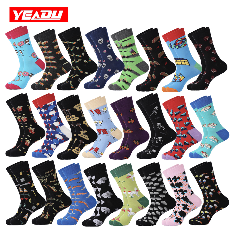 YEADU 2019 Men's Cotton Socks Hip Hop Happy Funny Novelty Cool Fashion Moustache Skull Halloween Socks For Men Christmas Gift