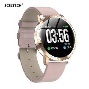 Image 1 - SCELTECH נשים חכם שעון IPS מסך עמיד למים דם לחץ ניטור מתכת Starp רב ספורט מצבי CF18 SmartWatch