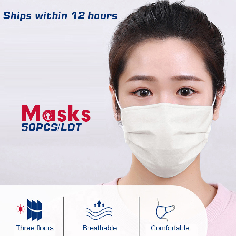50PCS 3 Layers Dustproof Facial Protective Cover Masks Anti-Dust Anti-Fog Disposable Printing Earloop Face Mouth Masks