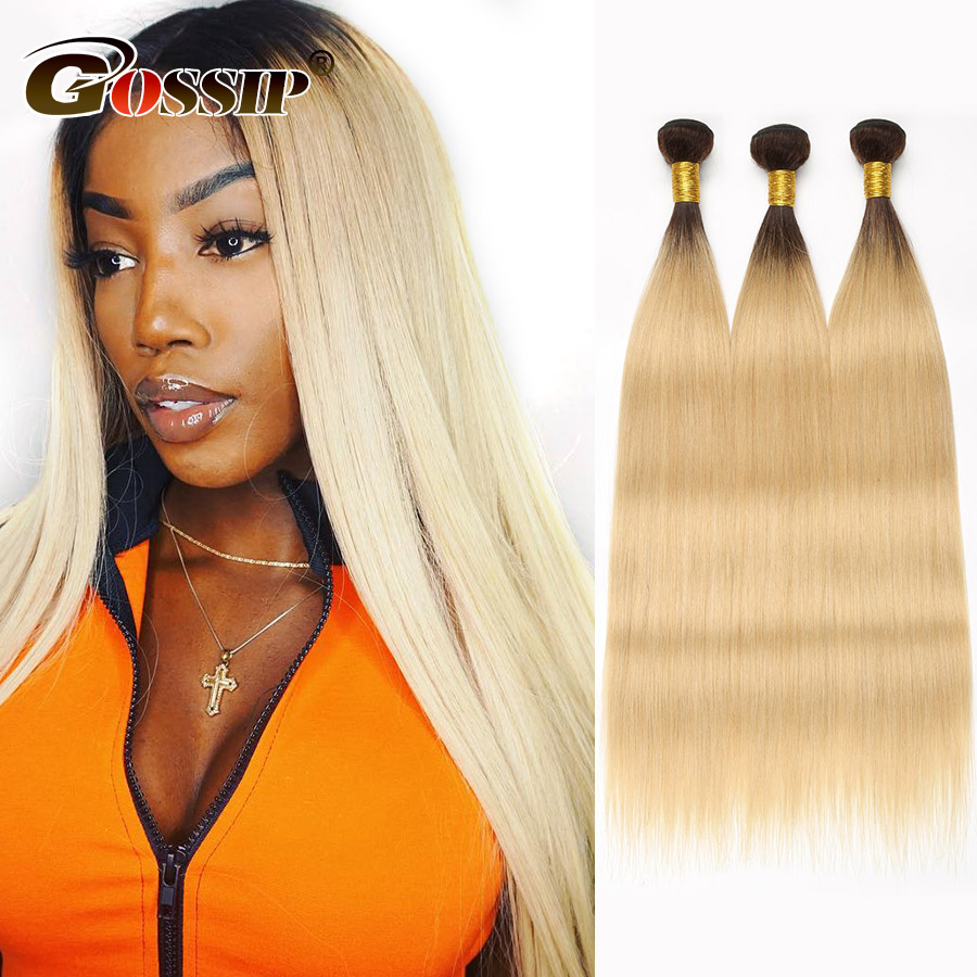 Straight Hair Bundles Brazilian Hair Weave Bundles Non-Remy Honey Blonde Hair Extensions Gossip Colored Ombre Human Hair Bundles (8)