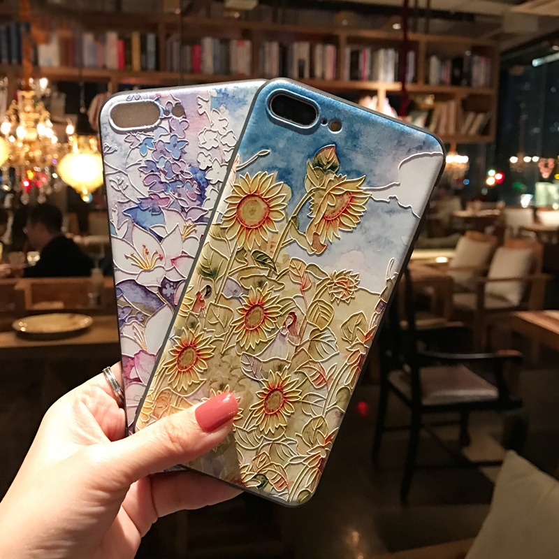 3D Embossed Phone Case for <font><b>Samsung</b></font> Galaxy <font><b>S10e</b></font> S8 S9 S10 S20 Ultra Plus Note 8 9 10 Plus <font><b>Capa</b></font> Flower Soft TPU Back Covers Coque image