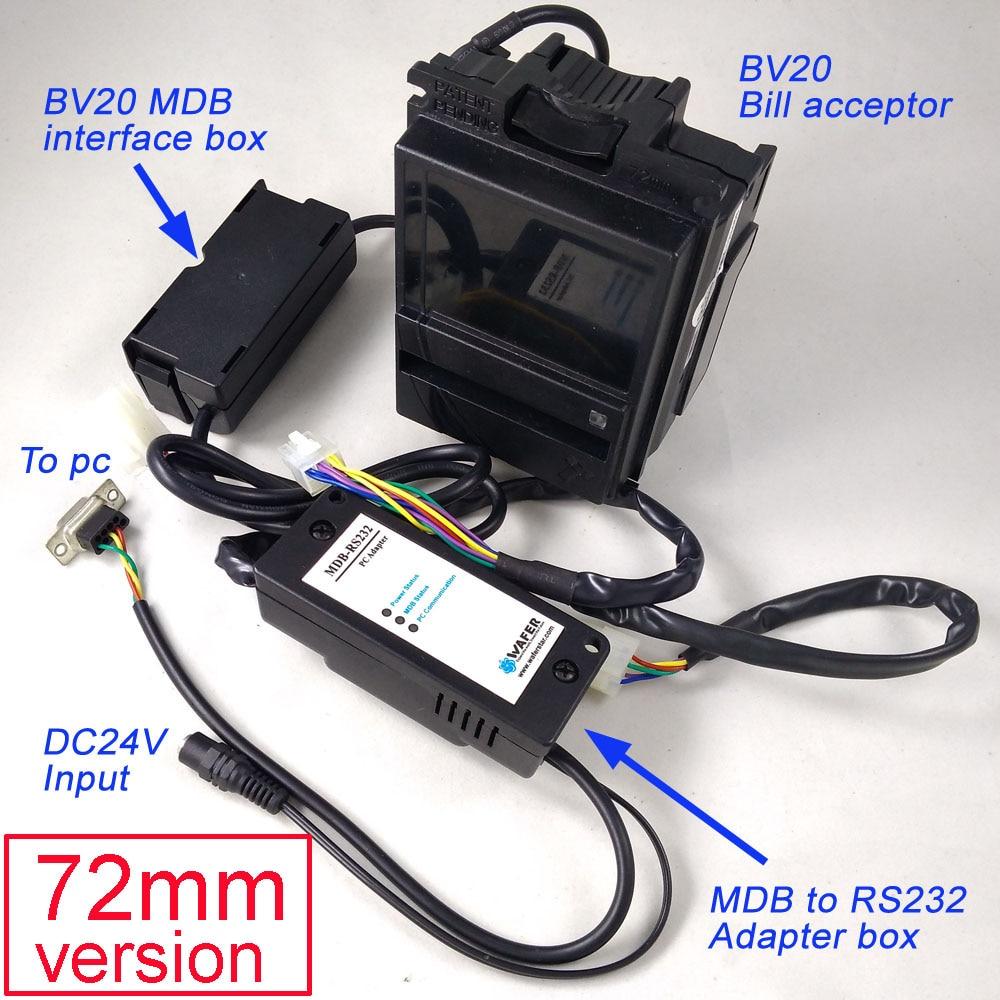 Economical MDB-R232 With 72mm Version BV20 Bill Acceptor For MDB Development Kits / BV20 Bill Validator Plus MDB To PC Adapter