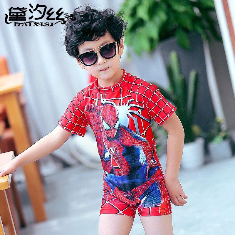 CHILDREN'S Swimwear BOY'S One-piece Body Cartoon Spider-Man Hooded Half Sleeve Medium-sized Child One-piece Boxer Boy Bathing Su