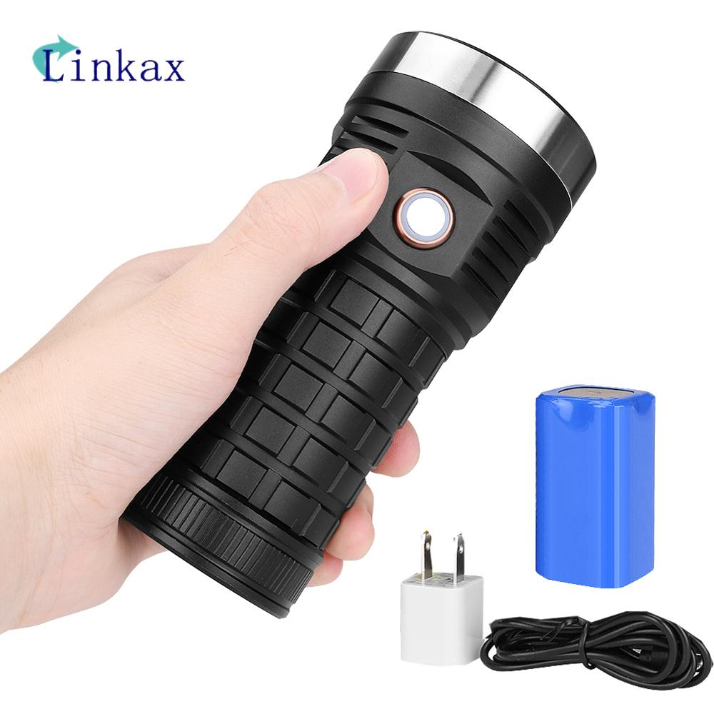 2000ML P70LED Flashlight Super Bright USB Rechargeable IPX6 Waterproof Work Light For Emergency Lighting By 4*18650 Battery