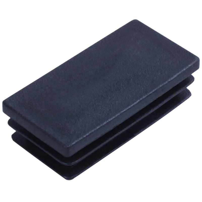 New-Plastic Rectangle Blanking End Tube Caps Inserts 25x50mm 30pcs Black