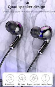 Image 3 - High Bass Headsets Sports Earphones Dual Drive Stereo In Ear Wired Earphone With Microphone Computer Earbuds For Cell phone