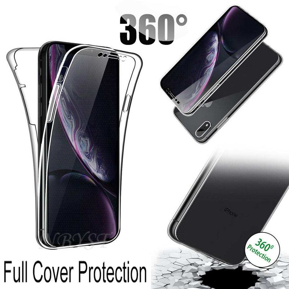 For iPhone SE 2020 11 Pro XR XS MAX <font><b>360</b></font> Full Body Soft ShockProof TPU Cases For iPhone 6 <font><b>6S</b></font> 7 8 Plus 5S 5C Double Silicone Cover image
