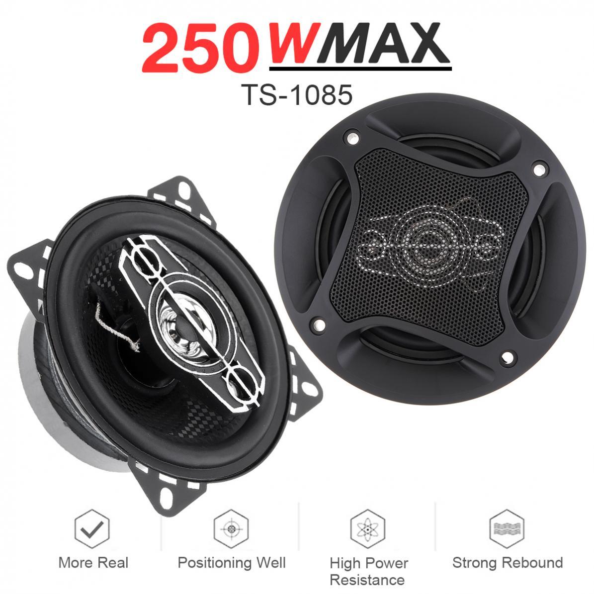 2 pces 4 polegada 10cm 250 w 12 v alto falante coaxial do carro auto audio