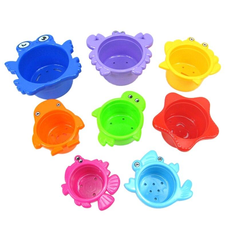 Juego de Vasos apilables para ba/ño de beb/é Juguete para ba/ñera Juego de Agua con Pegatinas Juguete de Arena Vasos apilables para ni/ños 8 Unidades