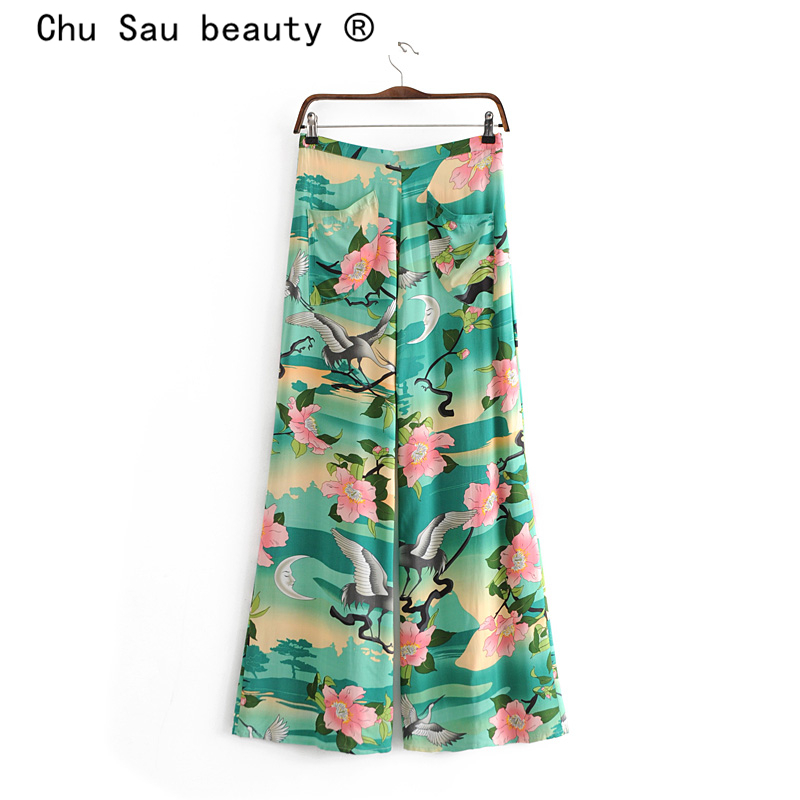 Chu Sau Beauty Boho Style Fashion Lotus Print Pants Women Holiday Chic Comfortable Trousers Female Autumn Wide Leg Pant