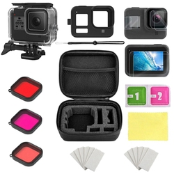 for Gopro Accessories Set for Gopro Hero 8 Waterproof Housing/Storage Box/Silicone Case/Tempered Film/Filters Kit Action Camera