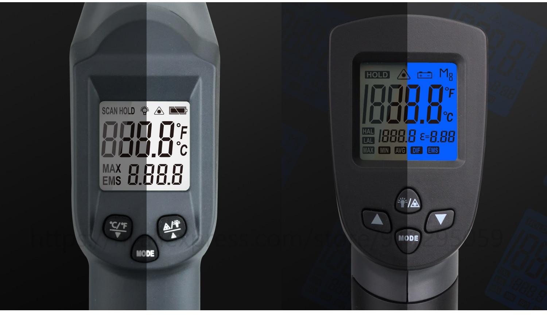 Kaemeasu Digitale Infrarood Thermometer -50 ~ 1600 Meetbereik, Non-contact, Veiligheid, Koken, industriële Elektronische Thermometer Pistool 21