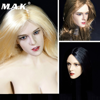 in stock 1/6 scale Female Kristen Stewart Head Carving long straight black /golden hair fit 12'' female figure body