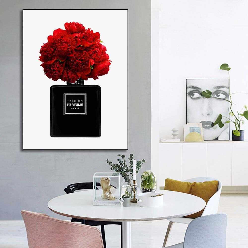 ファッション香水パリタワーの花の口紅壁アートキャンバス絵画北欧ポスターやプリント壁絵リビングルームのデコ用
