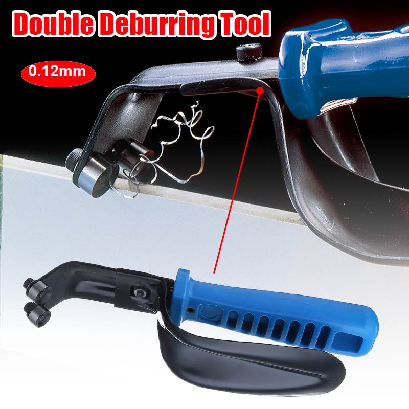 TOP Handheld Portable Double Sheet Metal Deburring Tool With Guard 1-12Mm Cutting Blades,Professional Burr Trimming Cutter Blade
