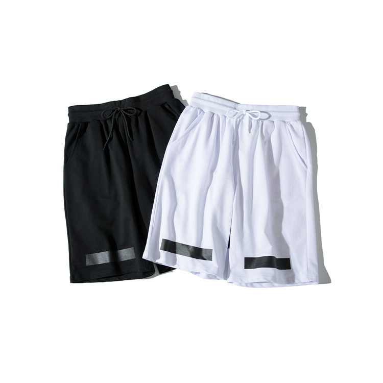 2019 New Style Europe And America Popular Brand Off White Series Base-Diagonal Stripes Shorts Students Couples-Style Fashion