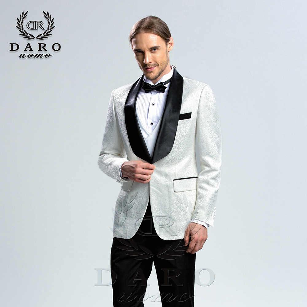 DARO 2019 新メンズスーツ 3 枚タキシードスリムフィットブルーグレーウェディングスーツブレザーパンツとベスト DARO8859