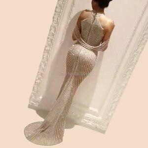 Image 2 - Sexy High Neck Evening Dress Tulle Mermaid/Trumpet Champagne Formal Dress Full Length The Skirt Split Sequins Beaded  Zipper