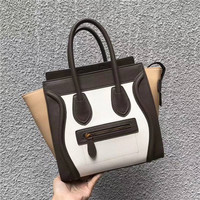 Genuine Leather Contrast Color Women's Bag Fashion Luxury Totes Handbags Smile Bag Trapeze Model Bag