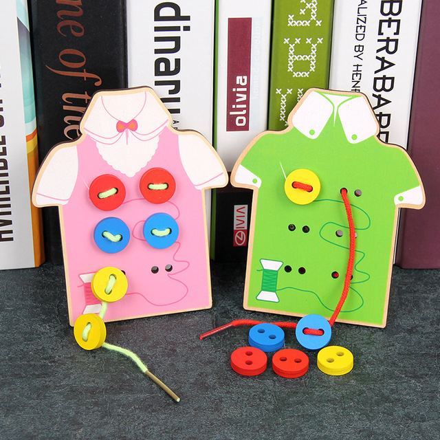 Wooden Toy eyes hands Cooperation shoelace clothes color kids toys Educational wood toys