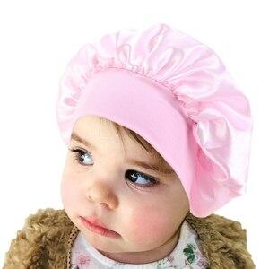 Детские шапки для волос, шелковистый сатин, однотонный широкополый колпак для сна, для сна, для девочек, для ночного сна, шапка для детей, уни...