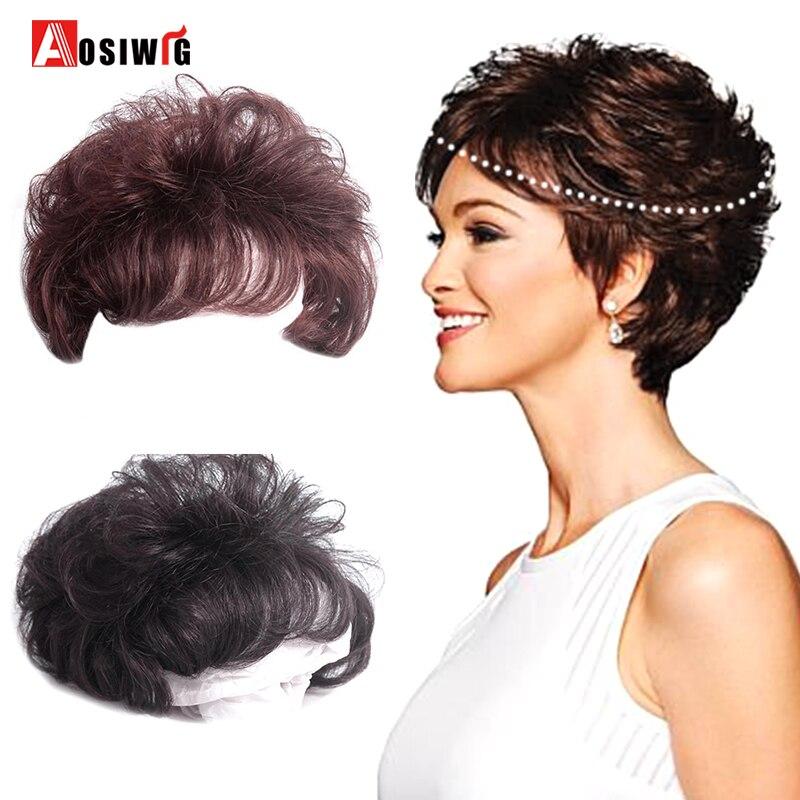 AOSIWIG синтетический короткий кудрявый черный коричневый парик верхний парик с клипсой для наращивания волос сменная система закрытия шиньо...