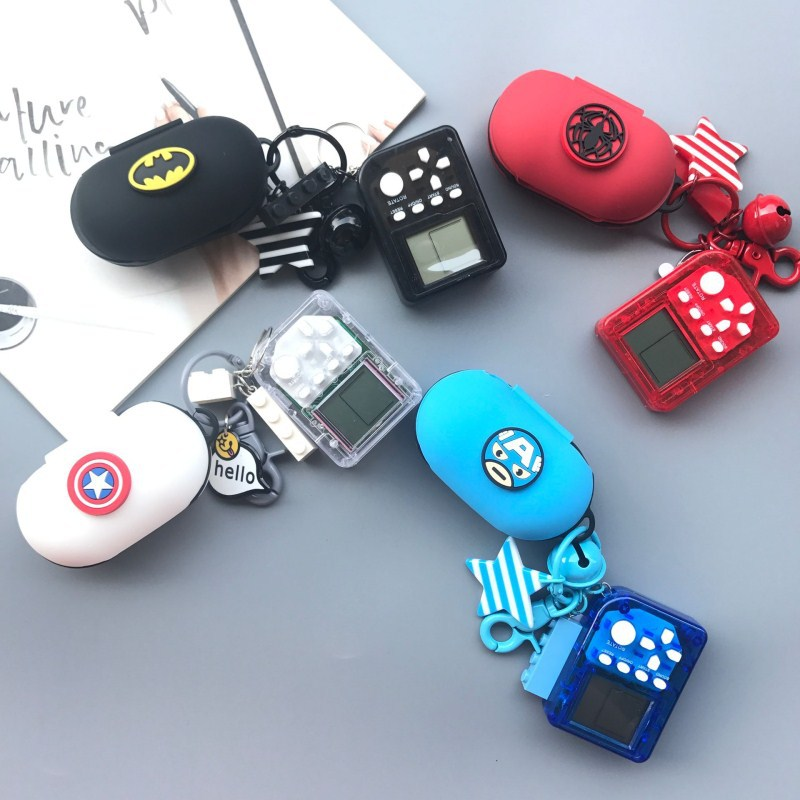 Cute Cartoon Superheros Bluetooth Earphone Case Protective Cover Skin Accessories For Samsung Galaxy Buds 2019 Case With Keyring
