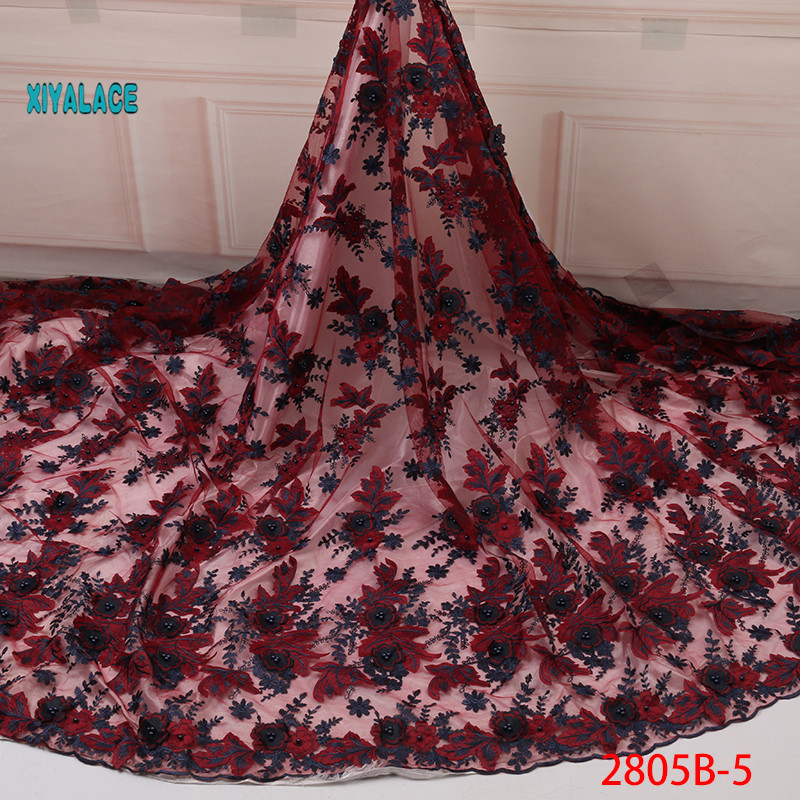 Latest Wine Red African Tulle Lace Fabric 2019 High Quality Nigerian Lace 3D Flower French Net Lace Fabric For Dress YA2805B-5
