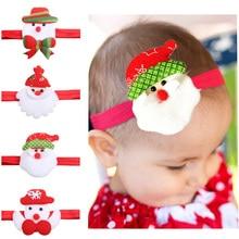цена 1pc Newborn Headband Baby girls Christmas Snowman Headbands Santa Claus Headwrap Head band Children Toddlers Hair flowers онлайн в 2017 году