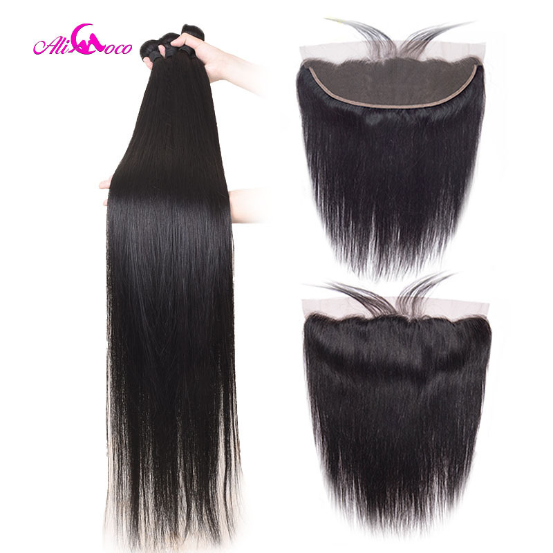 Ali Coco 28 30 32 40 Inch Brazilian Straight Bundles With Lace Frontal Human Hair Bundles With Frontal Remy Hair Extensions