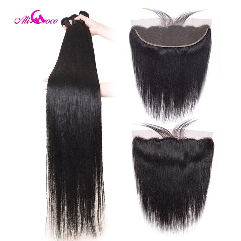 Ali coco 28 30 32 40 Polegada pacotes retos brasileiros com rendas frontal feixes de cabelo humano com frontal não remy extensões do cabelo