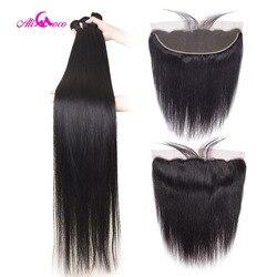 Ali Coco 28 30 32 40 Zoll Brasilianische Gerade Bundles Mit Spitze Frontal Menschliches Haar Bundles Mit Frontal Remy Haar extensions