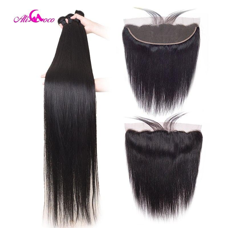 Ali Coco 28 30 32 40 pouces paquets brésiliens droits avec dentelle frontale paquets de cheveux humains avec Extensions de cheveux Remy frontaux
