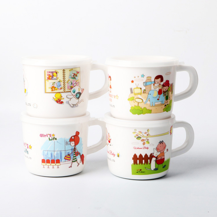 With Lid Children Cup Baby Glass Milk Cup With Shou Bing Bei Children Melamine Tableware