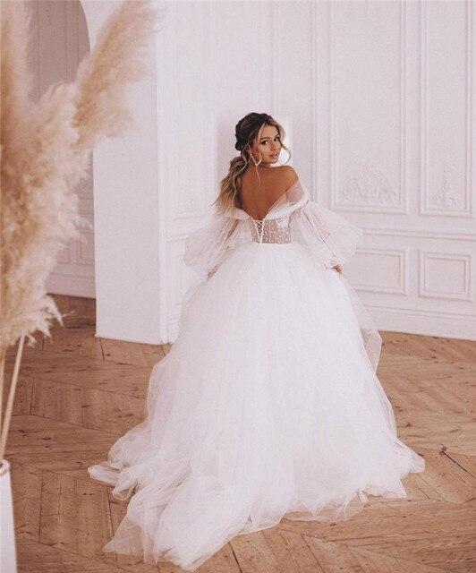 Fairy Boho Wedding Dresses Detachable Long Puff Sleeve Bride Dress Vintage Lace Beach Wedding Gowns Plus Size Corset Back Sweet 2